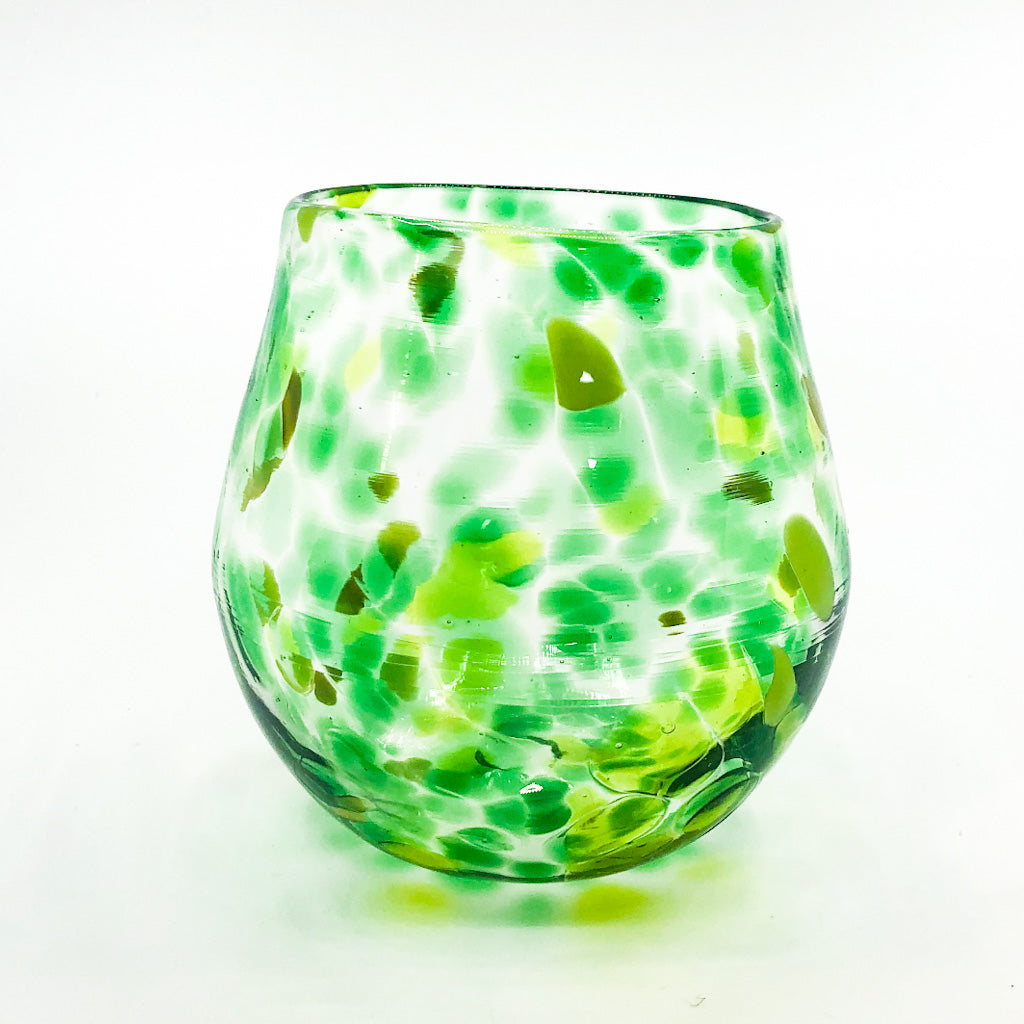 Green and Yellow Speckled Wine Tumbler