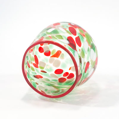 front side angle view of Red, Green, and White Speckled Wine Tumbler by Nate Nardi
