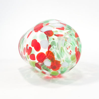 bottom side angle view of Red, Green, and White Speckled Wine Tumbler by Nate Nardi