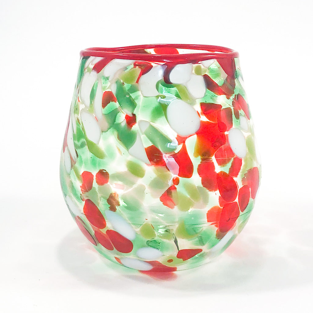 Red, Green, and White Speckled Wine Tumbler by Nate Nardi