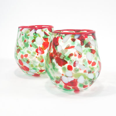 pair of Red, Green, and White Speckled Wine Tumblers by Nate Nardi