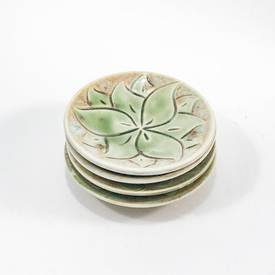 top angle view of Set of 4 Oil Dipper Dishes with Green Glaze by Wendy Wrenn Werstlein