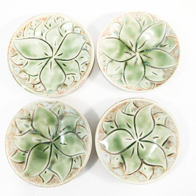over top view of Set of 4 Oil Dipper Dishes with Green Glaze by Wendy Wrenn Werstlein