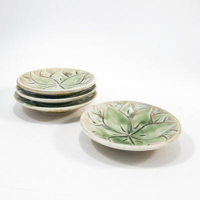 side angle view of Set of 4 Oil Dipper Dishes with Green Glaze by Wendy Wrenn Werstlein