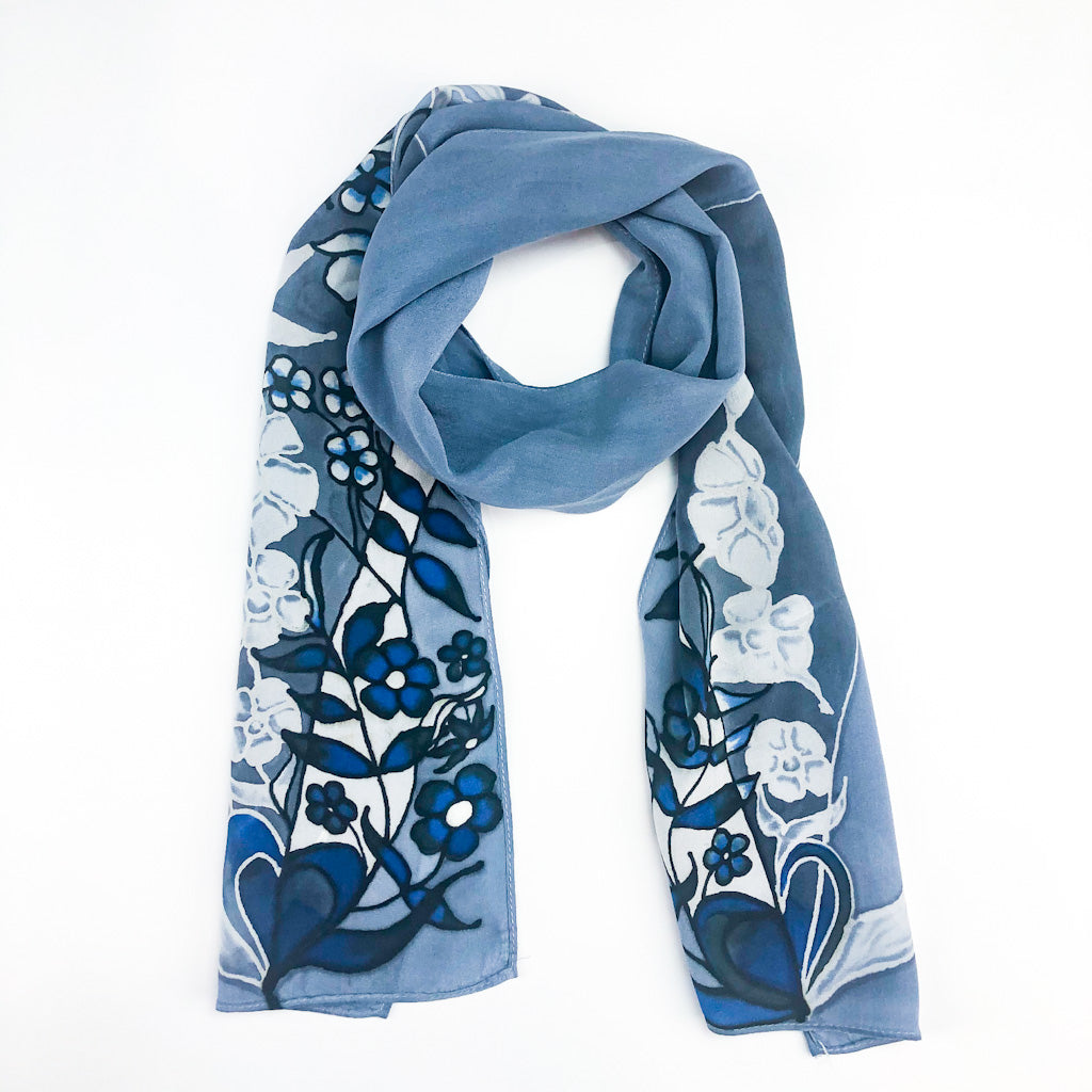 Gray/Blue Hearts with Flowers Silk Scarf by Valerie Rhoads