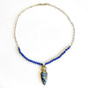 Sterling Siberian Azurite Pendant on Lapis Beads by Susan Schulz