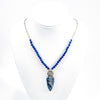 Sterling Siberian Azurite Pendant on Lapis Beads by Susan Schulz on white mannequin display bust
