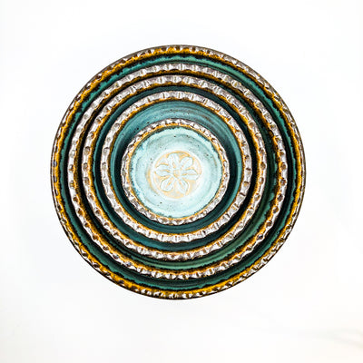 over top view of Turquoise and Brown Five Bowl Prep Set by Terrie Ponder Watch nested inside each other