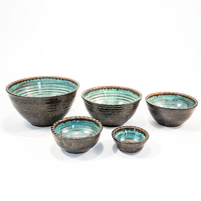 Turquoise and Brown Five Bowl Prep Set by Terrie Ponder Watch unstacked so each bowl is next to the other