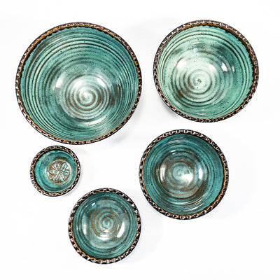 over top view of Turquoise and Brown Five Bowl Prep Set by Terrie Ponder Watch unstacked so each bowl is next to the other