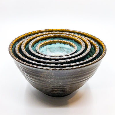 Turquoise and Brown Five Bowl Prep Set by Terrie Ponder Watch nested inside each other