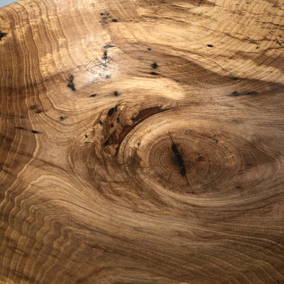 close up detail view of Rustic Spalted Hickory Bowl by Gary Beasley
