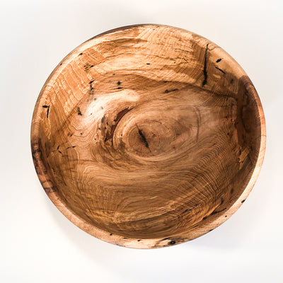 overhead view of Rustic Spalted Hickory Bowl by Gary Beasley