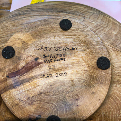 bottom view of Rustic Spalted Hickory Bowl by Gary Beasley
