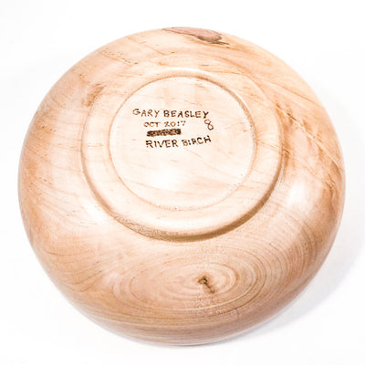 bottom view of Shallow River Birch Bowl by Gary Beasley