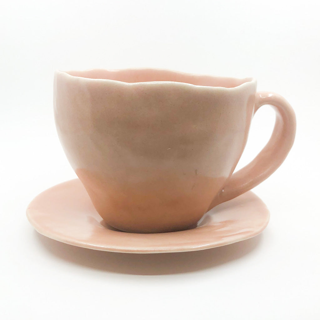 Blush Latte Cup and Saucer by Nona Kelhofer