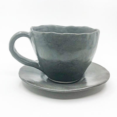 Charcoal Latte Cup and Saucer by Nona Kelhofer