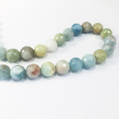 Sterling and Faceted Aquamarine Beads Necklace