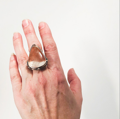 size 9.25 Cherry Quartz Ring by Berlin Randall worn on hand
