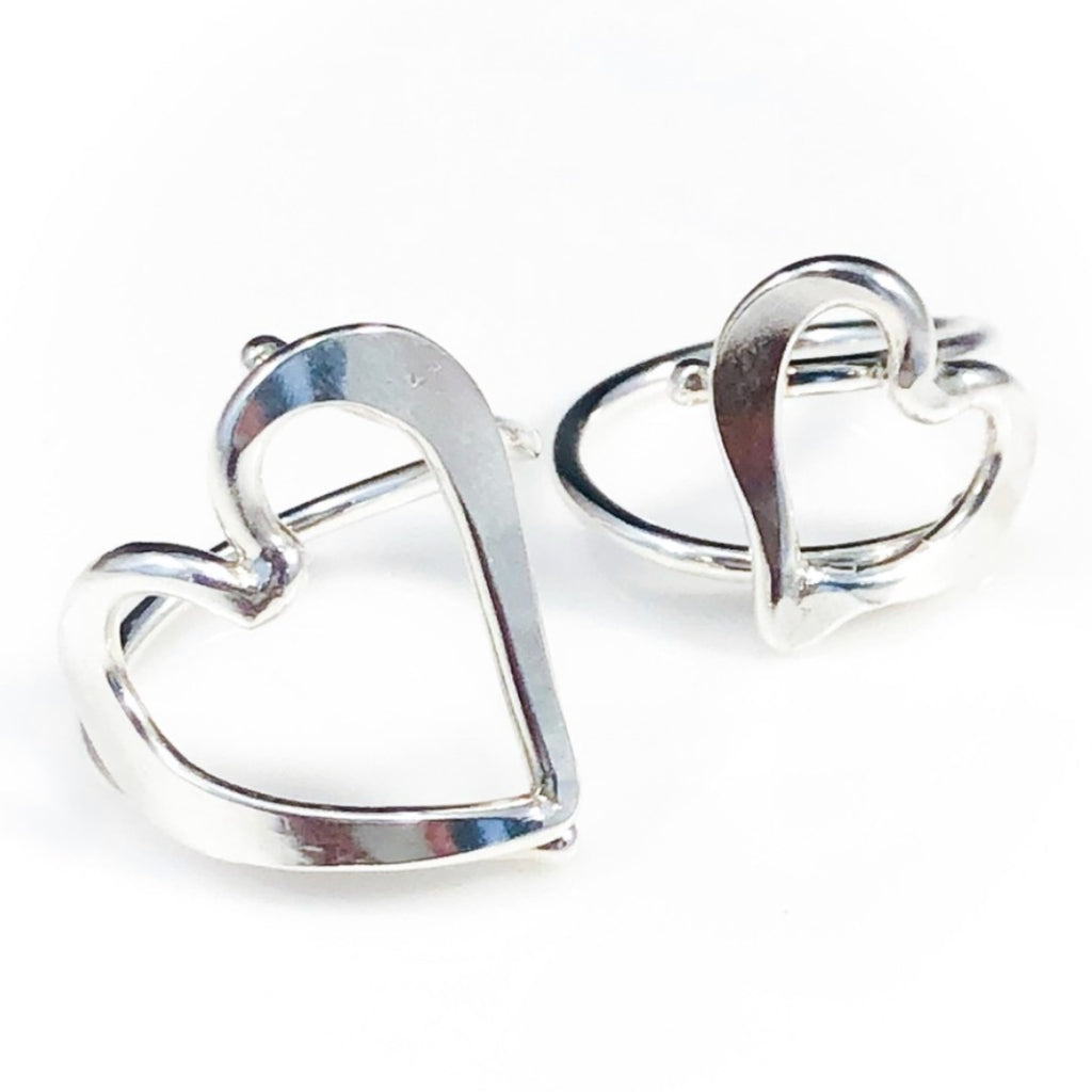 Sterling Hammered Heart Rings