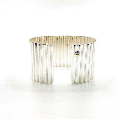 "back side view of 1 1/2"" Sterling Corrugated Cuff with 14k Gold Ball by Judie Raiford"