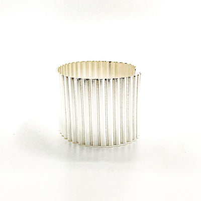 "right side view of 1 1/2"" Sterling Corrugated Cuff with 14k Gold Ball by Judie Raiford"