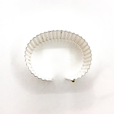 "over top view of 1 1/2"" Sterling Corrugated Cuff with 14k Gold Ball by Judie Raiford"