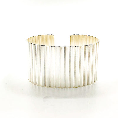 "1 1/2"" Sterling Corrugated Cuff with 14k Gold Ball by Judie Raiford"