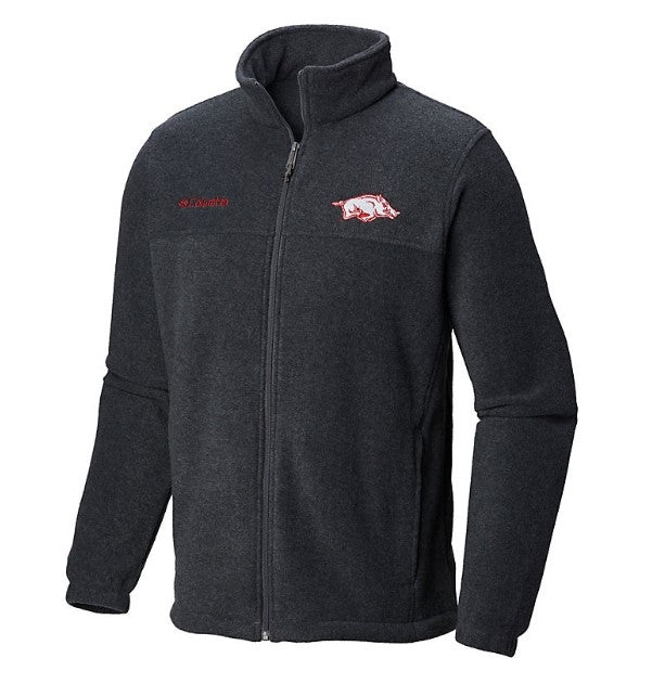 Men's Arkansas Columbia Collegiate Flanker II Full-Zip Fleece-Charcoal