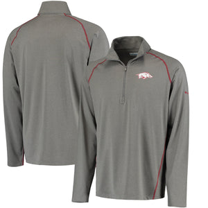 Men's Columbia Gray Arkansas Razorbacks Collegiate Tuk Mountain Half-Zip Long Sleeve T-Shirt-Boulder