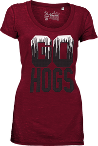 Arkansas GO Hogs short sleeve scoop  neck