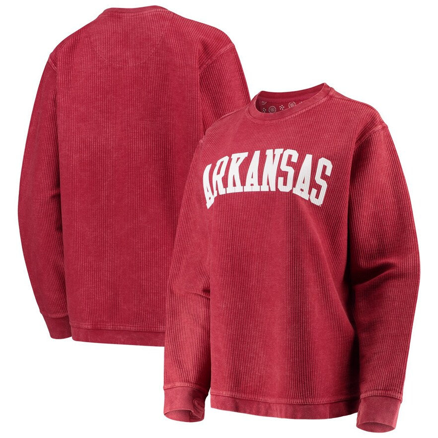 Comfy Cord Arkansas Sweatshirt-Crimson (Block Letters)