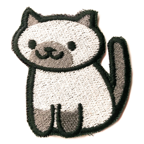 Marshmallow the cat Handmade Sew On Embroidered Patch