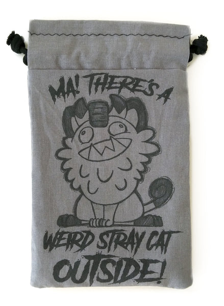 Handmade Drawstring bag - Stray Meowth outside