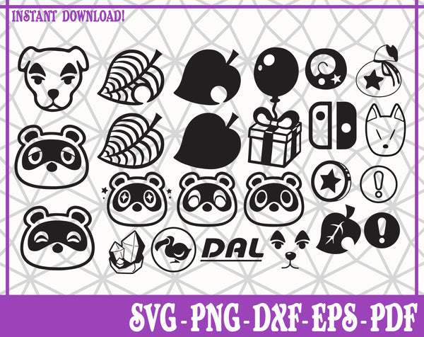 Animal Crossing Bundle SVG, Pdf, Eps, Dxf PNG files for Cricut, Silhouette Instant download