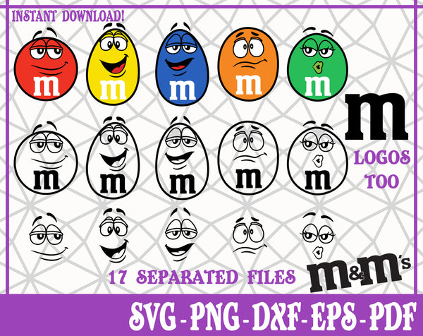 Characters M&Ms Logo SVG, Pdf, Eps, Dxf PNG files for Cricut, Silhouette Instant download