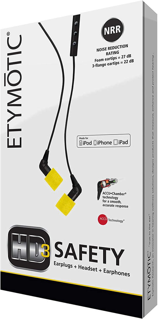 Etymotic HD3 Safety Headset and Earphones - Industrial Hearing Protection, Safe Listening Earphones with Headset, Black