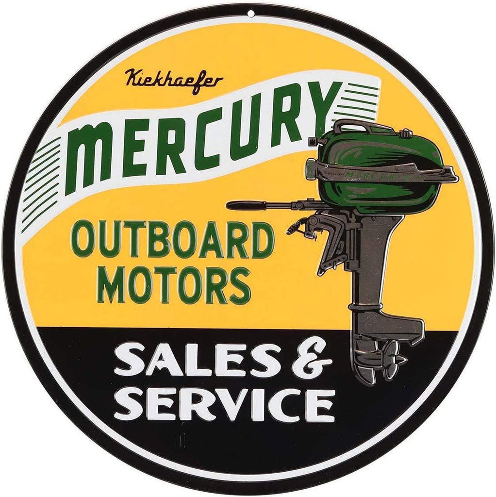 Open Road Brands Mercury Marine Outboard Motors Sales and Service Embossed Metal Circle Sign