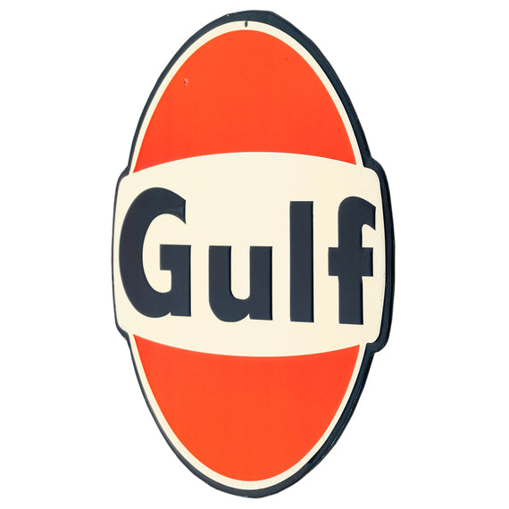 Open Road Brands Gulf Orange and White Vintage Tin Button Metal Wall Art Sign