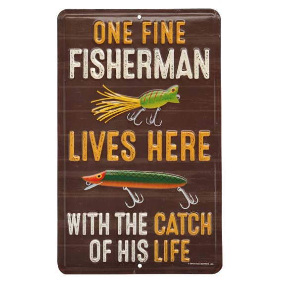 Open Road Brands One Fine Fisherman, Brown Vintage Embossed Tin Metal Wall Art Sign