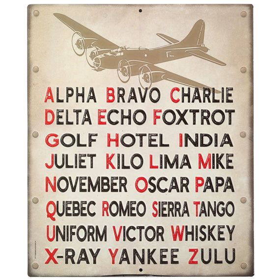 Open Road Brands Pilot Code Phonetic Alphabet Embossed Metal Sign