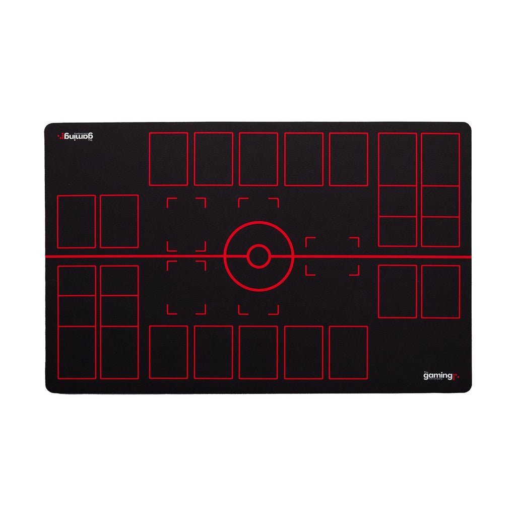 The Gaming Mat Company™ 2 Player Pokemon Gaming Mat for Pokemon Trading Card Games TCG Play Mat Stadium Board Black & Red