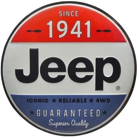 Jeep Since 1941 Red White and Blue Vintage Embossed Metal Wall Art Sign