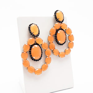 Brinco pedra oval papaya com strass