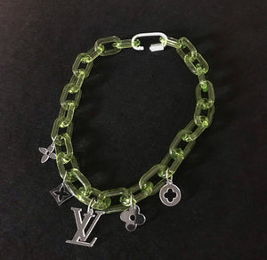 "Translucent Green ""charm"" chain necklace"