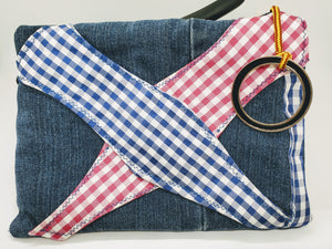 "Artisan "" What Not Bags"" made from upcycled jeans with blue, fuschia and white gingham bowtie embellishment"