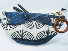 "Load image into Gallery viewer, Artisan "" What Not Bags"" made from upcycled jeans with cream and black ethnic bow tie detail"