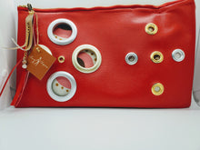Load image into Gallery viewer, Artisan oversized rich red clutch with grommet detail