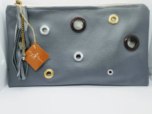 Load image into Gallery viewer, Artisan oversized dark gray clutch with grommet detail