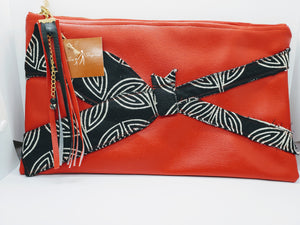 Artisan oversized rich red clutch with bowtie detail